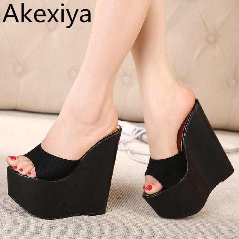 Akexiya caliente 2017 mujeres blancas cuñas sandalia 17 cm zapatillas de tacones altos zapatos de las señoras mujer sandalias mujer sandales verano estilo