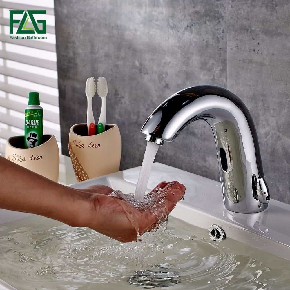 FLG High Quality Basin Faucet Chrome Cast Cold & Hot Hand Touch Tap Automatic Inflated Sensor Deck Mounted Crock Tap Mixer 8909