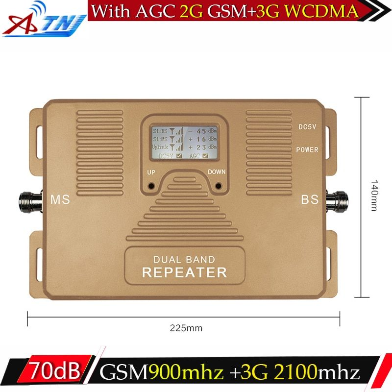 ATNJ GSM 3G Repeater Dual Band GSM 900 MHz 2100MHz W-CDMA UMTS Repetidor 3G Antenna Signal Amplifier 2G 3G Cell Phone Booster