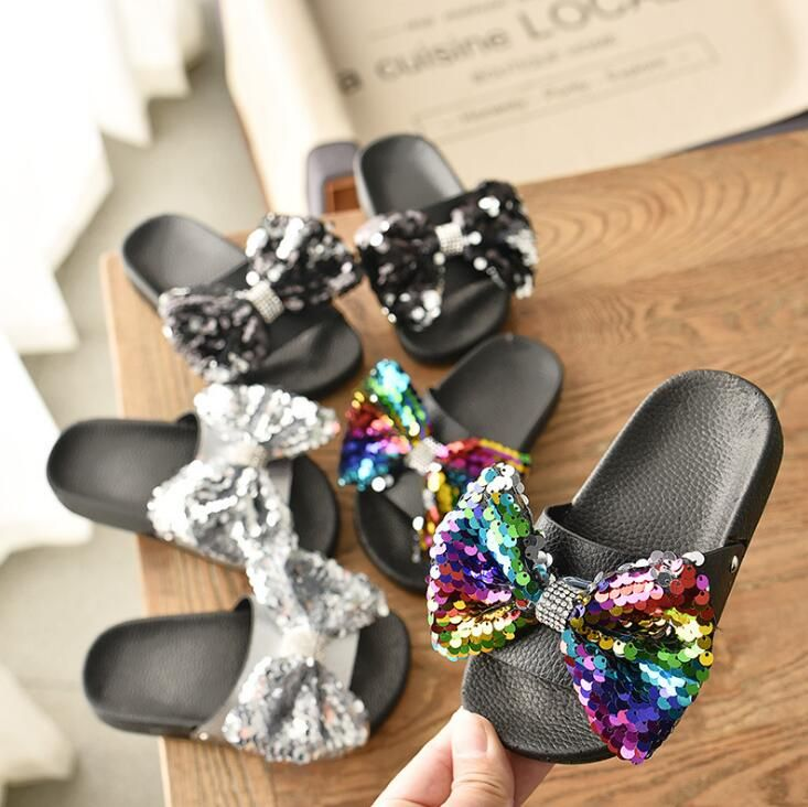 3-14 Years Old Toddler Slippers Rubber Child Home Shoes Sequin Bow Princess Non-slip Slides for Girls Large Slipper Outdoor Shoe