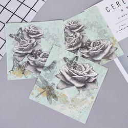 Vintage Rose Blume Schmetterling Libelle Papier Servietten Für Event & Party Dekoration Tissue Decoupage 33 cm * 33 cm 20 teile/paket/lot