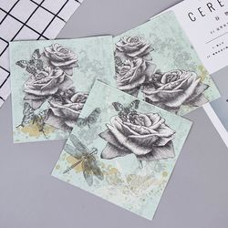 Vintage Rose Flower Butterfly Dragonfly Paper Napkins For Event & Party Decoration Tissue Decoupage 33cm*33cm 20pcs/pack/lot