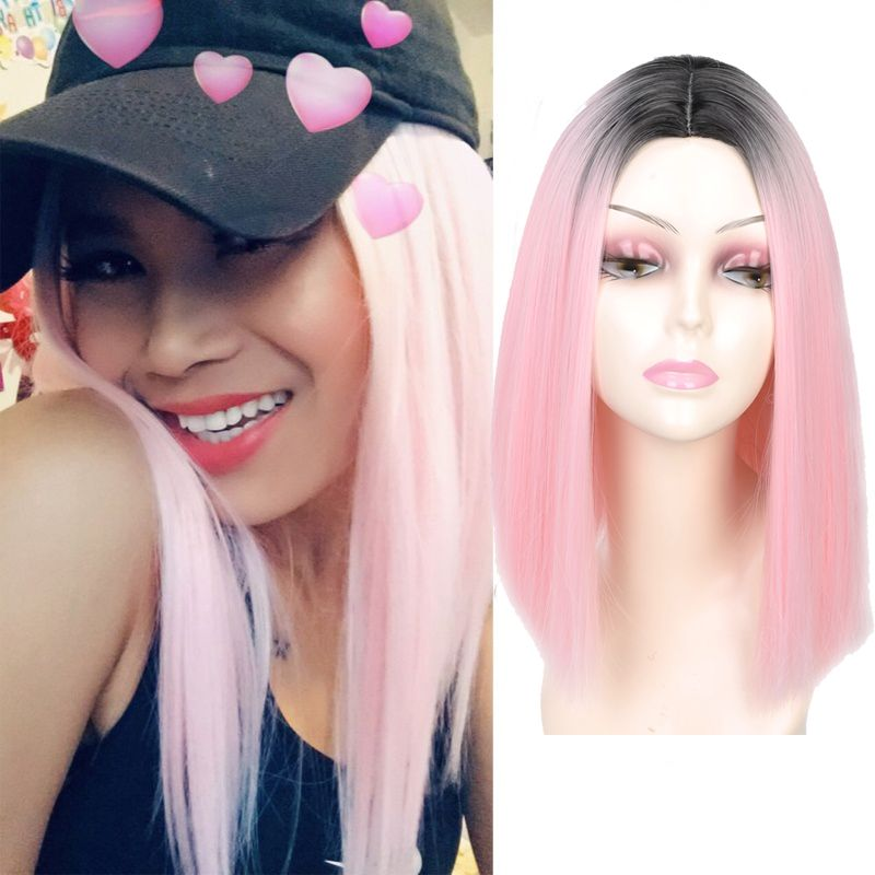 MISS WIG Pink Ombre Black Blonde Blue Gray Wig Long Straight Hair Short Wigs for Black Women Synthetic Wigs 230g
