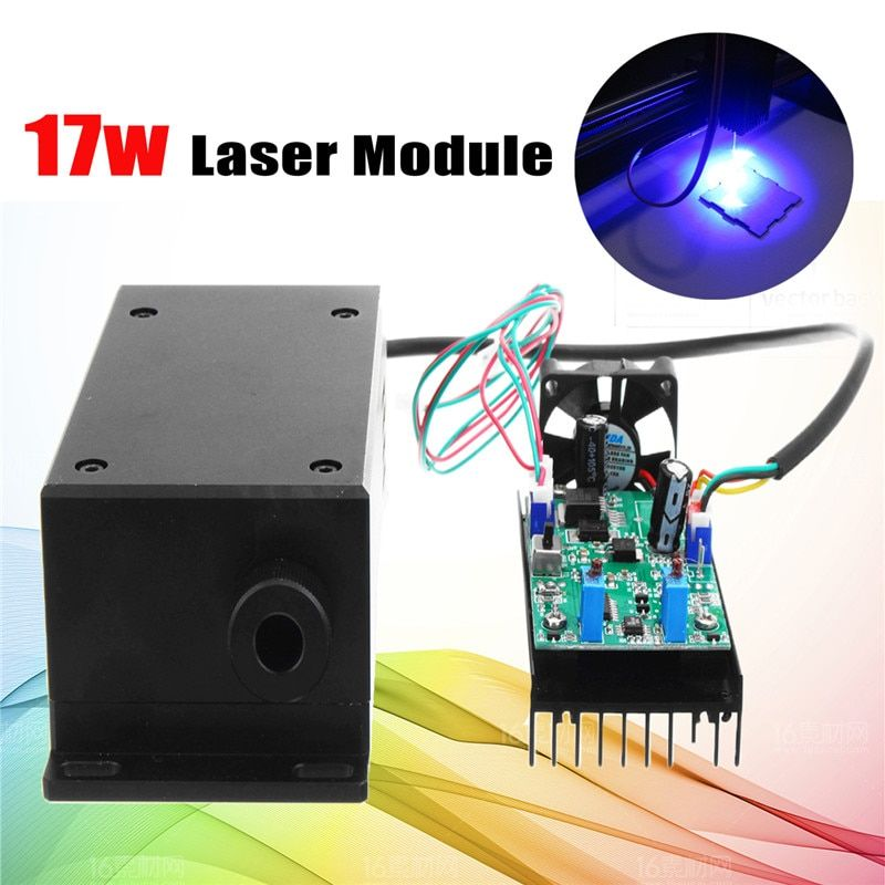 450/445nm 17W High Power Laser Head Engraving Module Adjustable Focal 17000mw Blue Laser Module DIY Wood Metal Engraving Machine