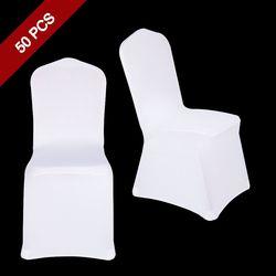 50 PCS Universal Polyester Spandex Stretch Décor Chaise Pour Le Mariage De Fête Banquet Hôtel À Manger Célébration Cérémonie