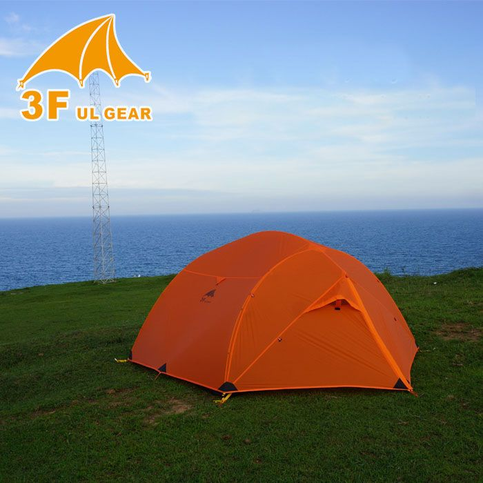 3F Ultralight double layer 15D coated silicon fabric 3 person use high quality camping tent with bottom mat