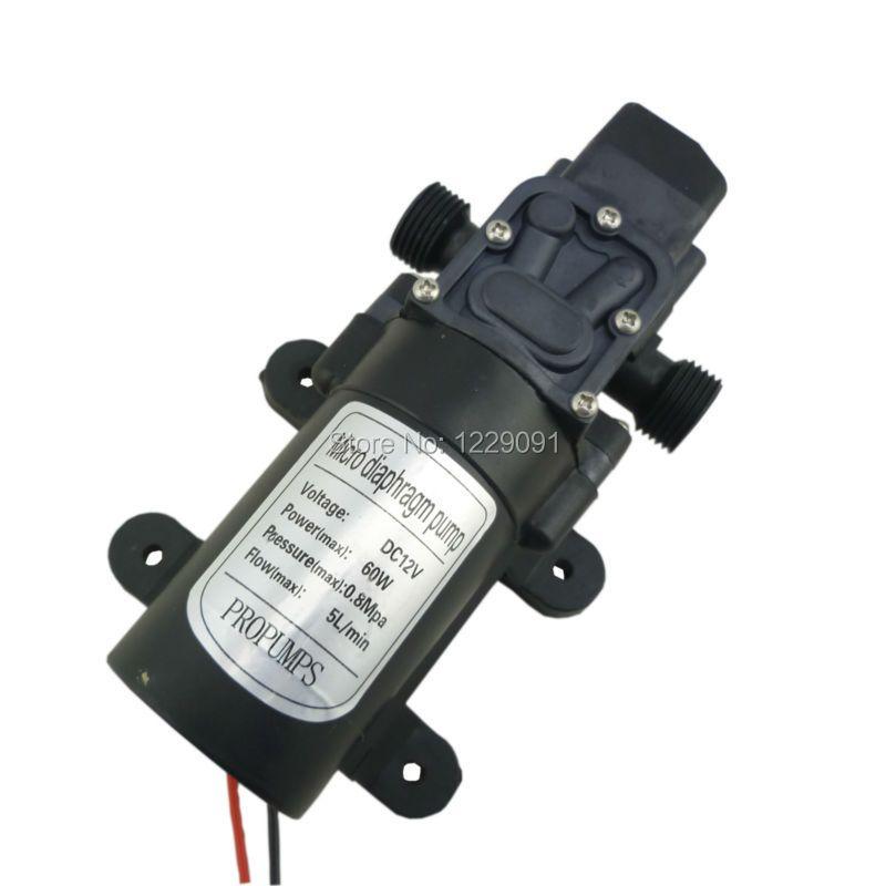 12 volt 24 volt 60W 5L/min dc high pressure self priming diaphragm pump home small automatic pressure switch 12 v water pump