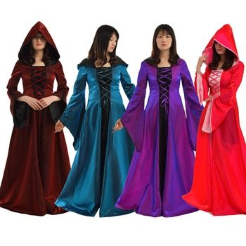 Halloween Costume for Women Cosplay Party Club Elegant Bandage Corset Medieval Renaissance Vintage Dresses Hooded Gown
