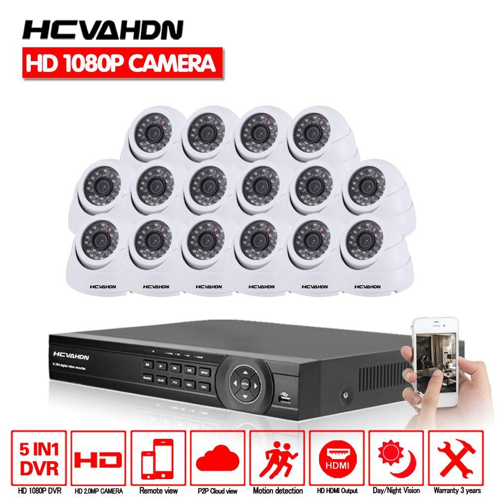 Home 16CH AHD DVR 16Pcs 2.0MP 1080P Camera Security Surveillance CCTV System Indoor  IR Night Vision HD CCTV AHD Camera  Kit