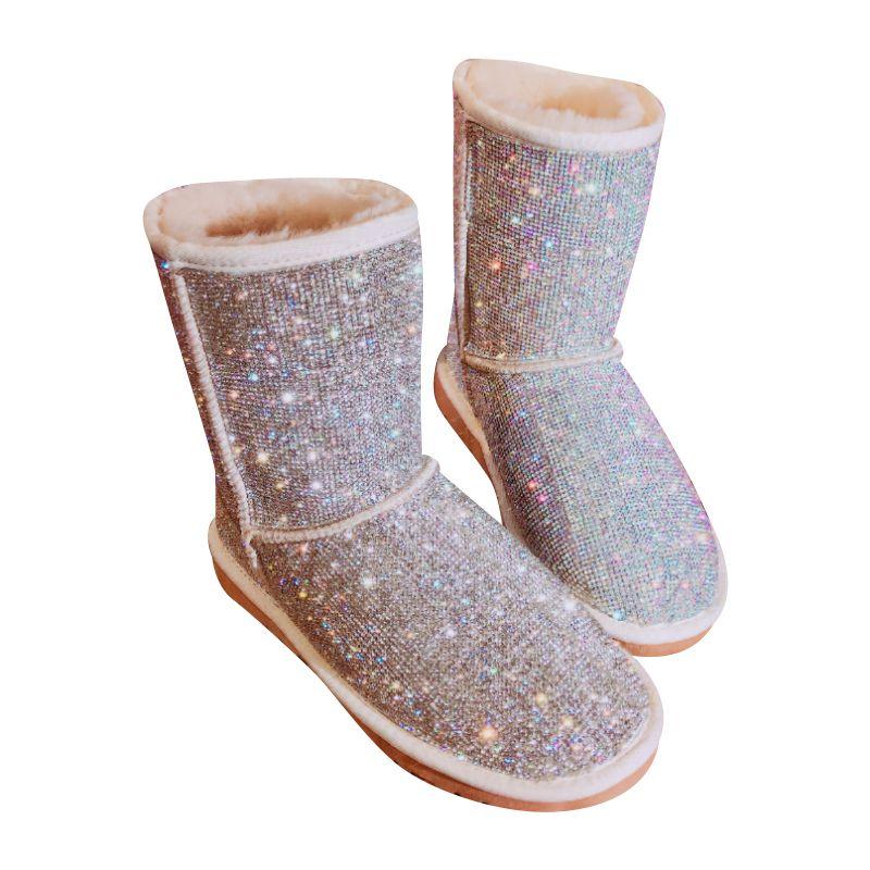 EU43 Big Size Warm Winter Boots Women Handmade Rhinestones Snow Boots Fur Shoes Woman 2018 Fashion Bling Crystals Mid-Calf Boots