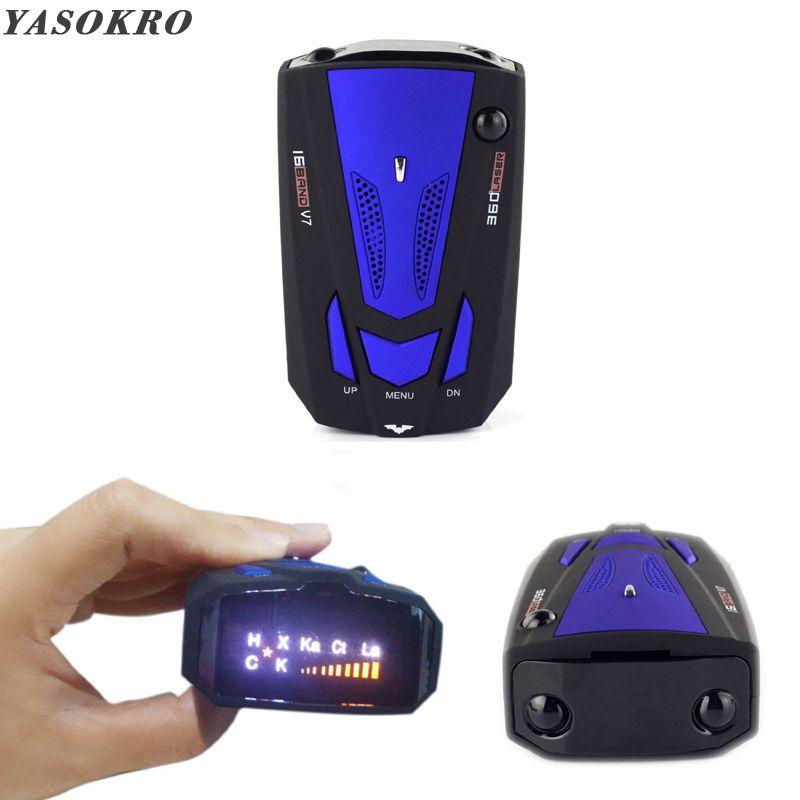 YASOKRO détecteur de Radar de voiture anglais russe Auto 360 degrés véhicule V7 vitesse alerte vocale alarme avertissement 16 bande LED affichage