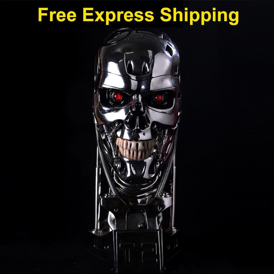 1:1 Resin Statue Terminator T800 T2 Skull Endoskeleton Lift-Size Bust LED EYE Resin Action Figure Statuette Replica Collection