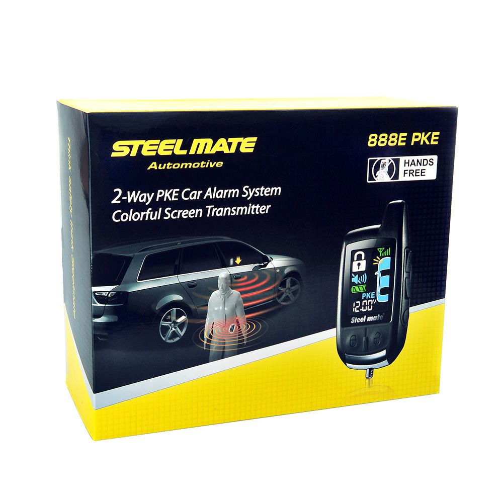 Steelmate Car Alarm Keychain 888E Two LCD Alarm Auto Security System with Remote Start System Keyless Entry Door Button Device