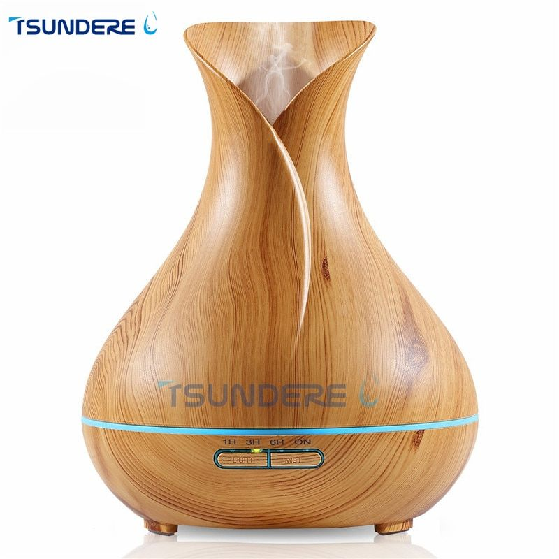 TSUNDERE L Air Humidifier 400ml Aroma Essential Oil Diffuser Ultrasonic Aromatherapy Mist With Wood Grain and Colorful LED Light