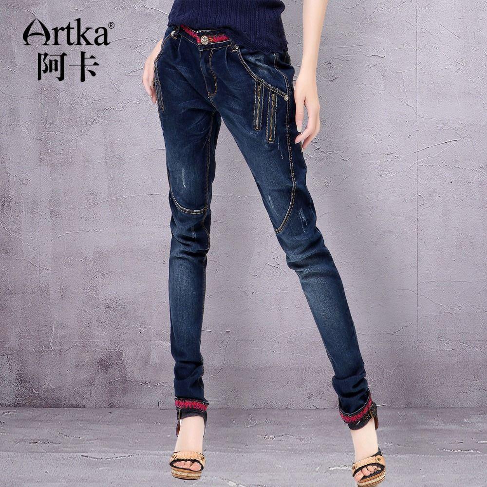 Artka Femmes Jeans Avec Broderie Vintage Pantalon Femmes 2017 Skinny Jeans Denim Crayon Pantalon Plus La Taille Élastique Jeans KN12621D