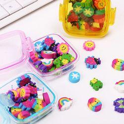 20 unids/pack precioso color Gomas de borrar papelería de oficina caja cuadrada Gomas de borrar para estudiantes niños regalo creativo del artículo