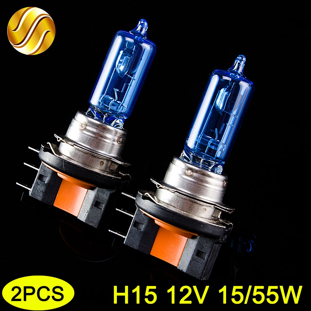 flytop H15 Halogen Lamp 12V 15/55W 2 PCS(1 Pair) 5000K HeadLight Bulb Xenon Dark Blue Glass Car Light Super White