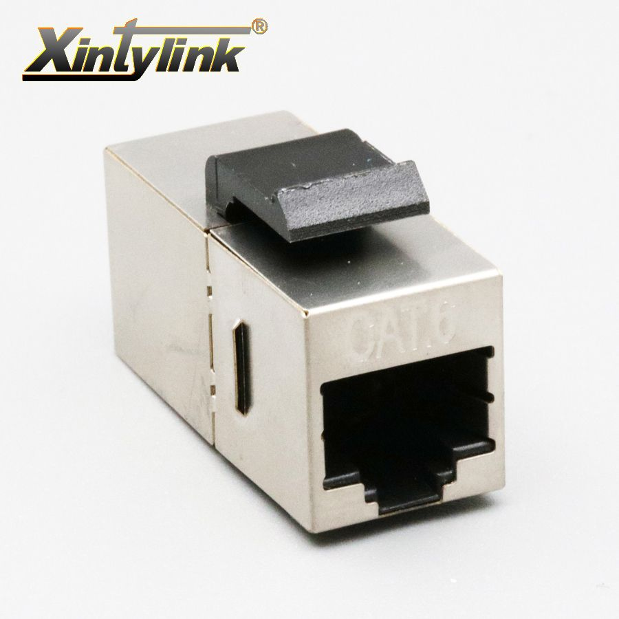 xintylink ethernet cable socket rj45 connector cat6 female modular keystone shielded adaptor double head Network joint Extension