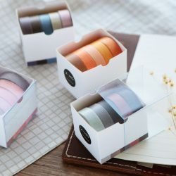 5X 10mm*5M Solid color paper tape DIY decorative scrapbook masking tape washi tape stationery  office adhesive tape