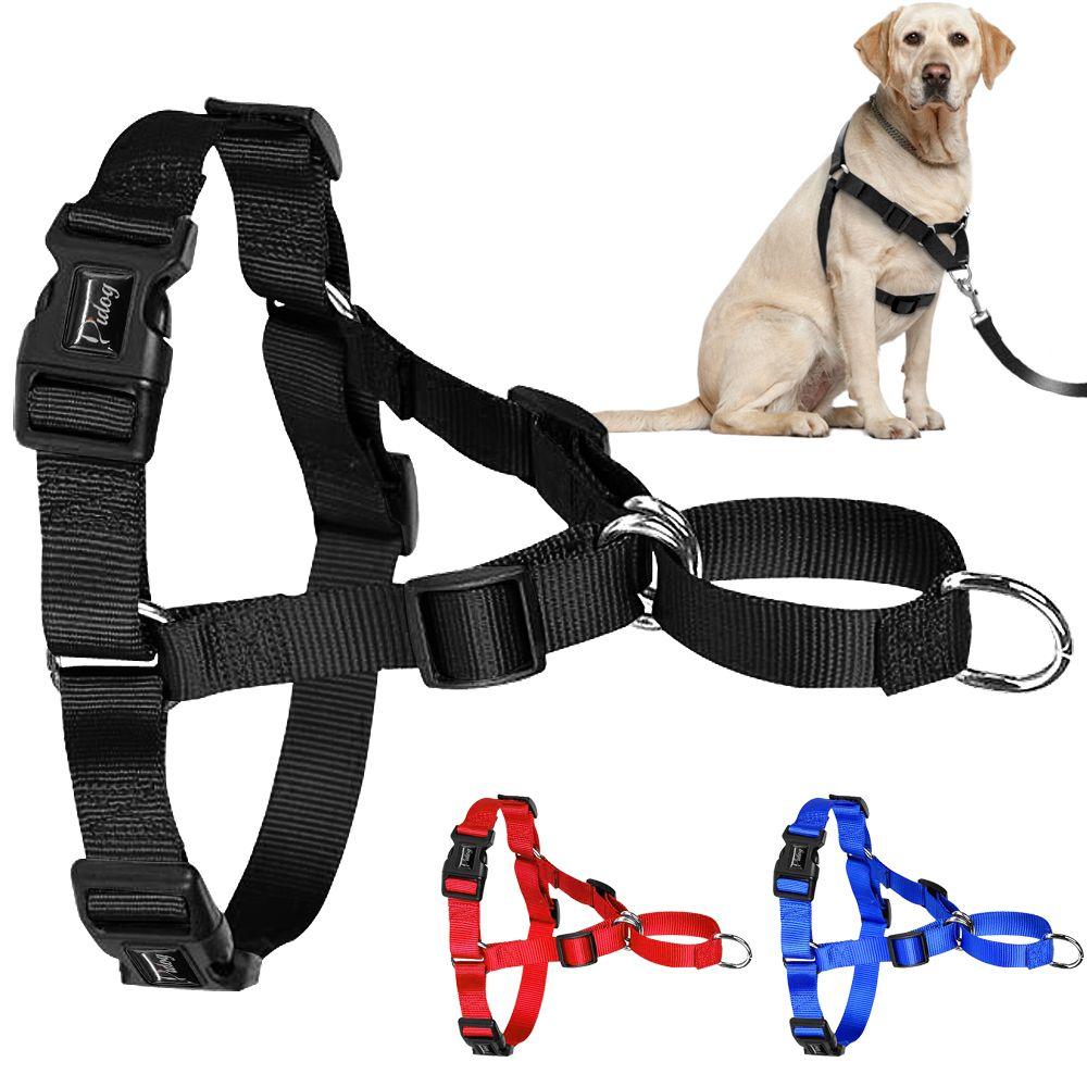 Harnais pour chien en Nylon sans traction harnais réglable pour chien de compagnie gilet pour chiens de taille moyenne Pitbull Bulldog berger allemand S-XL noir