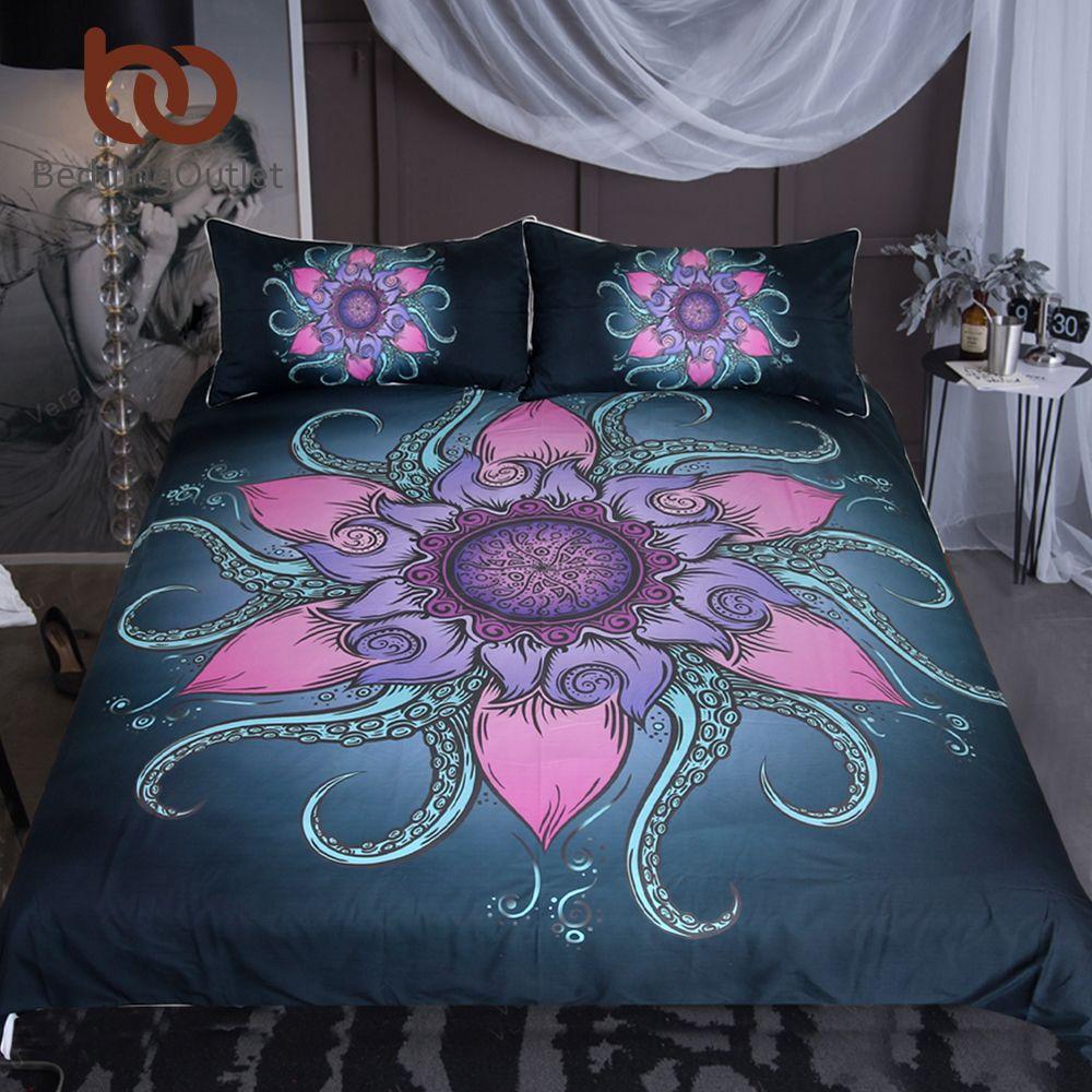 BeddingOutlet Octopus Bedding Set Floral Microfiber Duvet Cover Queen Ethnic Mandala Flower Bedspread Exotic 3Pcs Nautical Ocean