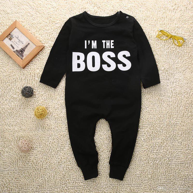 Милые письма босс печати для маленьких мальчиков Обувь для девочек комбинезон одежда с длинными рукавами для новорожденных комбинезон BM88