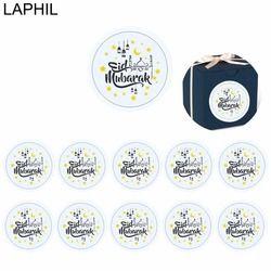 LAPHIL 60 pcs Eid Mubarak Décoration Papier Autocollant Lable Joint 4 cm Cadeau Autocollant Islamique Musulman Moubarak Décoration Ramadan Fournitures