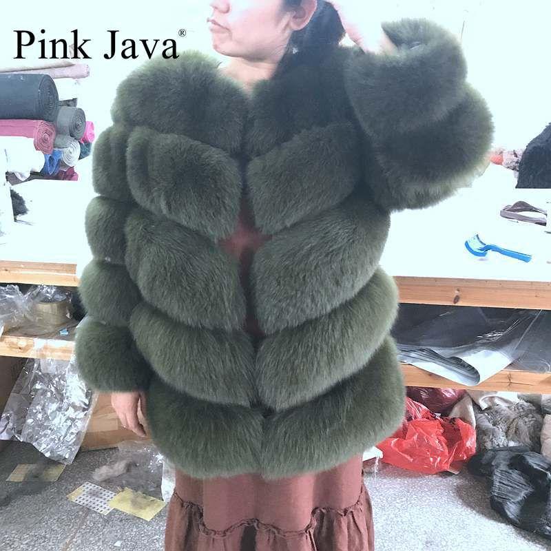 Розовый java qc8085 Новинка 2017 натуральным лисьим пальто с мехом съемные рукава пальто натуральная лиса жилет высокого качества женские зимние ...