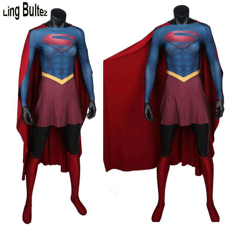 Ling Bultez High Quality Super Girl Costume With Muscle Shade Spandex Super Woman Spandex Suit With Cape