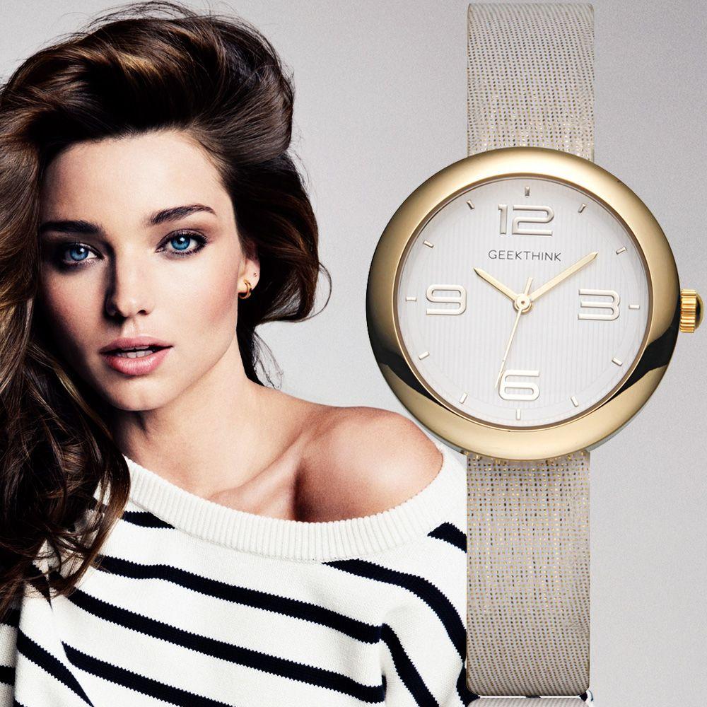 Geekthink цельный Повседневные часы Для женщин золотой бренд дамы просто Повседневное Кожаный ремешок наручные часы для девочек часы женский ...