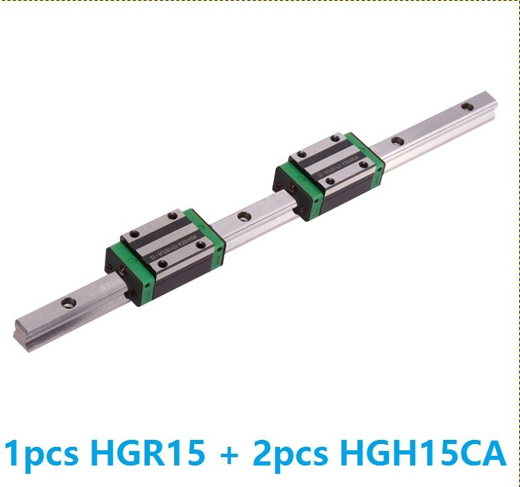 1pcs linear guide rail HGR15 1100mm/1200mm/1300mm/1400mm/1500mm + 2pcs HGH15CA linear narrow blocks for CNC Made in China