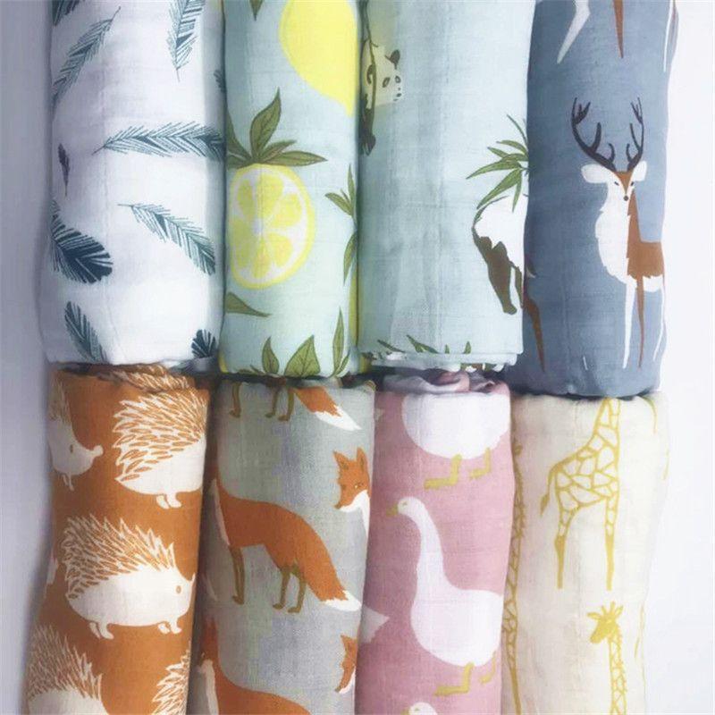 Bébé Wrap Organique mousseline de coton swaddle couverture, Multifonctionnel Mousseline Bébé Nouveau-nés Couverture, Bébé lit ensemble serviette de bain