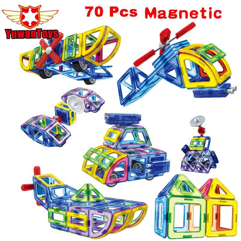 Новый 2017 70 шт./компл. Магнитный конструктор здания Конструкторы модели Строительство Игрушка Пластик DIY Кирпичи обучения детей развивающие ...