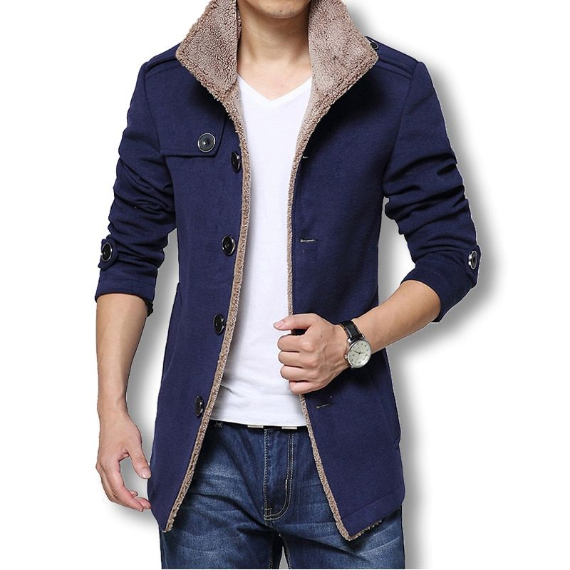 2017 Men Long Wool Coat Winter Men Jackets And Coats Slim Fit Men Windbreaker High Quality Trench Coat Men Plus Size Hot Sale