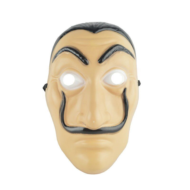 Salvador Dali Face Masks Wholesale 50/100 pcs/set La Casa De Papel Face Latex Cosplay Mask Adult Realistic Plastic Party Mask