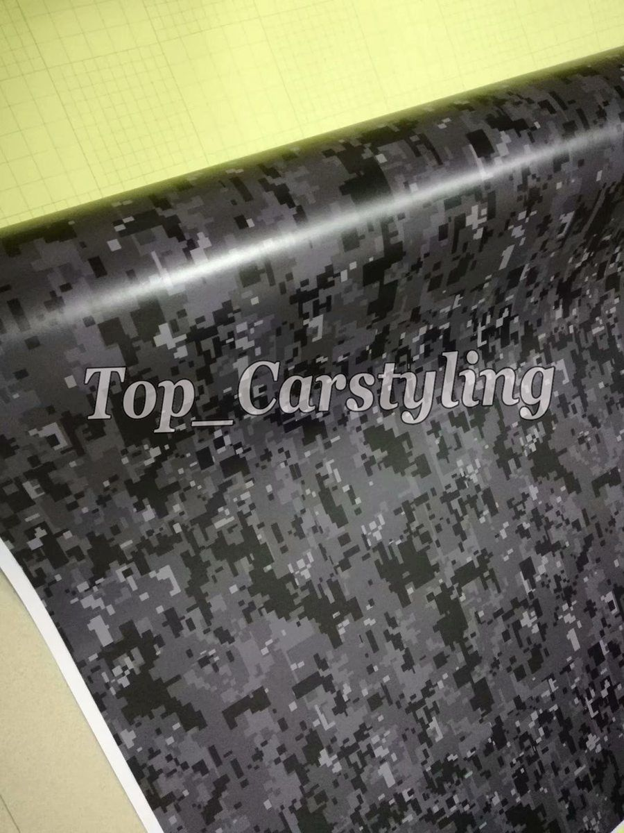 Digital Gray Black Camo Vinyl Car Wrap Camouflage Film Vehicle covering With Air Bubble Free WRAPSKIN sign 1.52x10m/20m/30m