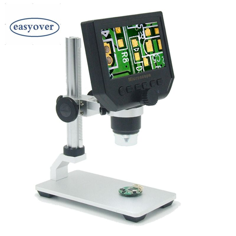 Portable 600X 3.6MP Digital Microscope 4.3 LCD Electronic HD Video Microscopes USB Endoscope Magnifier Camera Al-alloy Stent