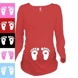 2017 Nouveau Bébé Pieds Coeur Conception 100% Coton De Maternité Chemise De Maternité Clothing pour les femmes enceintes Plus La Taille XXL Livraison Gratuite
