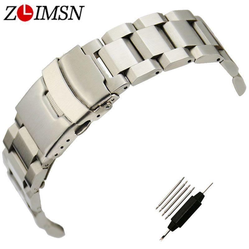 ZLIMSN 316L Bracelet en acier inoxydable Bracelet de Sport à extrémité plate Double bouton poussoir déploiement fermoir militaire Relogio 18 20 22 24mm