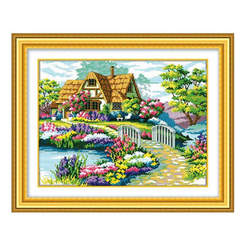Gros couture 100% précis imprimé bricolage point de croix Kit broderie croix mur décor belle maison jardin