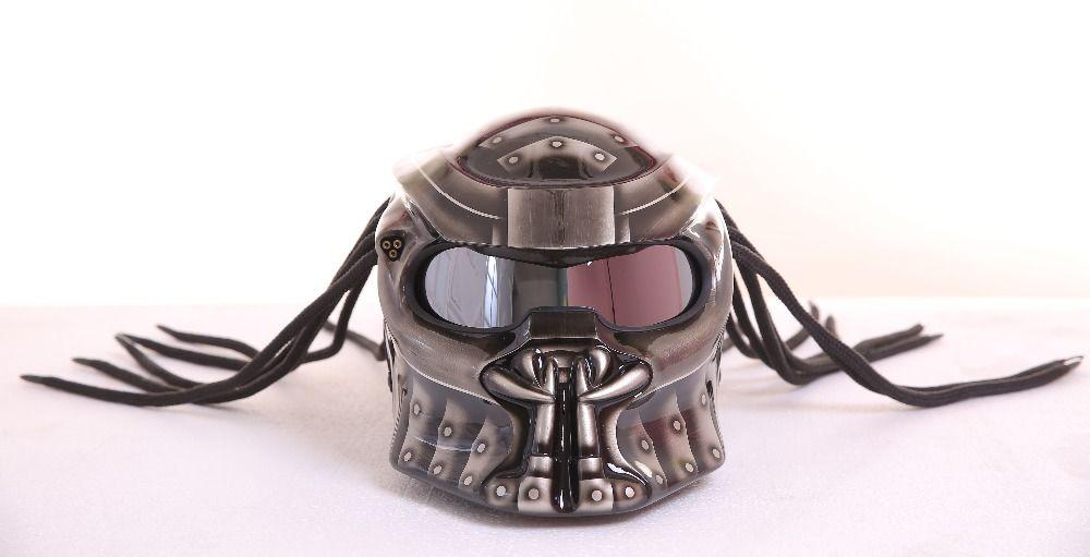 Quality Helmet MASEI IRONMAN Grey Predators mask fiberglass neca motorcycle helmet Full face iron man moto DOT M L XL