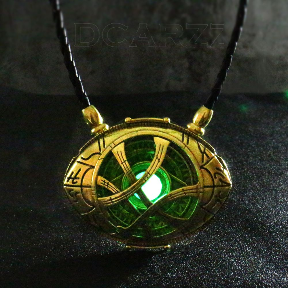 7cm*5.5cm Doctor Strange Necklace Glow in Dark Eye Shape Antique Bronze Pendant with Leather Cord Movie Costume Cosplay Jewelry