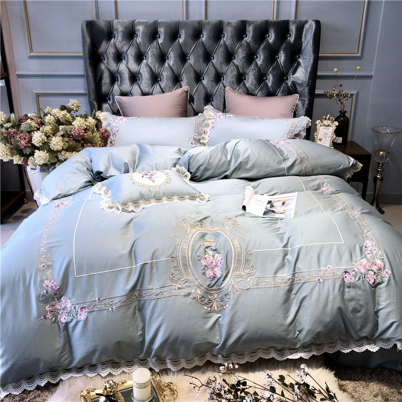Light blue Pink Luxury European Pastoral Embroidery Egyptian Cotton Bedding Set Duvet Cover Bed sheet Pillowcase Queen King Size