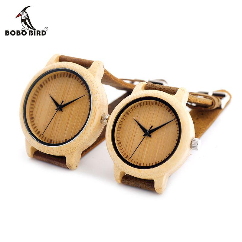 BOBO BIRD Lover Round Bamboo Wooden Wristwatch Japan Movement 2035 Quartz Watch for Couple Men 43mm Dial Women 38mm Dial