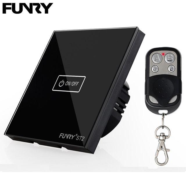 FUNRY Interrupteur D'éclairage Intelligent, 1 voie 1 Télécommande Interrupteur Tactile, RF 433 mhz Sans Fil En Verre Cristal Commutateur UE/ROYAUME-UNI