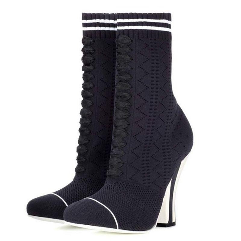 ARQA femmes bottes tricotées nouvelles chaussures de mode 2019 grande taille 33-43 automne hiver bout rond bottes de laine pour femme sabot talons