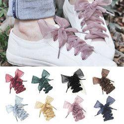 1 Paire 110 CM Mode Shoestrings Femmes Lacets Plat Soie Satin Ruban Lacets Sneakers Sport Chaussures Dentelle Arc Livraison gratuite