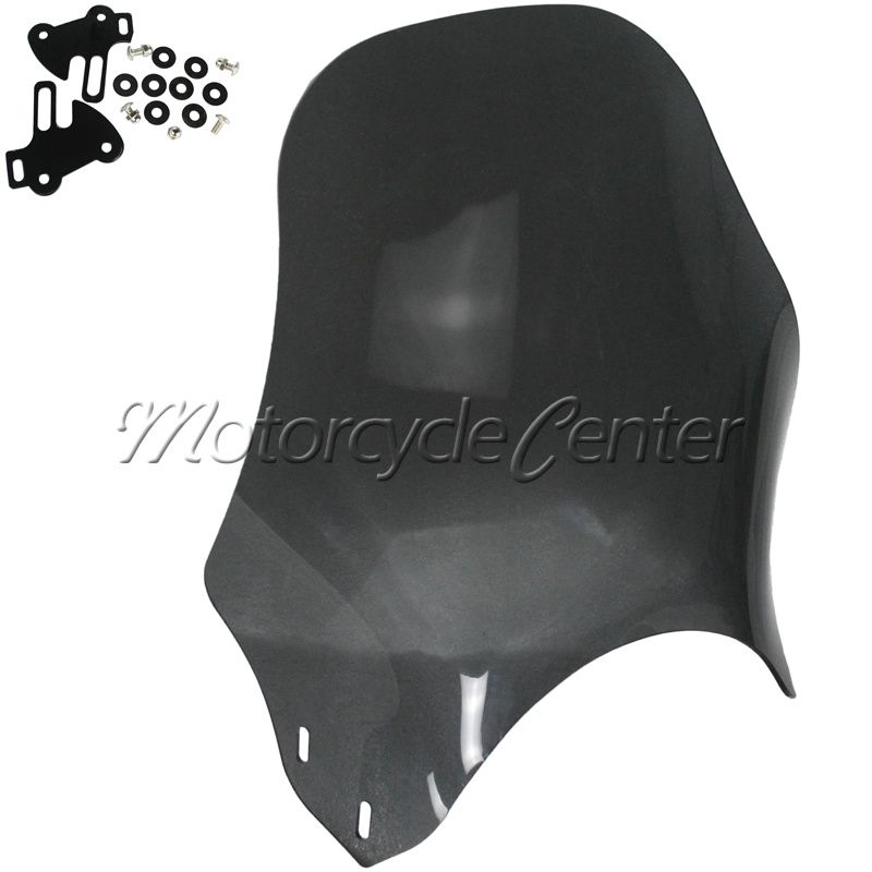 Universal Motorcycle Wind Deflectors Windshield Windscreen For Suzuki Yamaha Honda Kawasaki Round Lights Street Bikes Glass