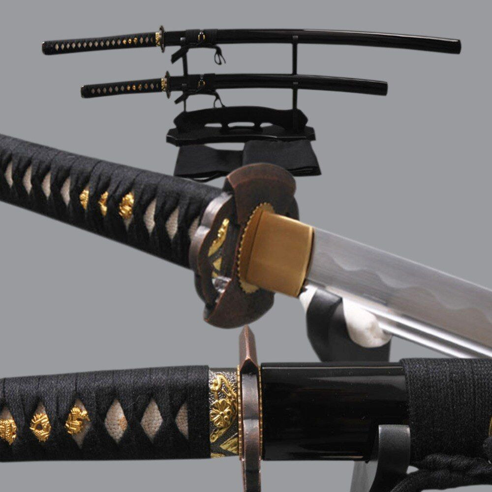 Fully Hangmade Japanese Samurai Swords Set High Carbon Steel Blade Katana & High Carbon Steel Wakizashi Full Tang Sharp Knives