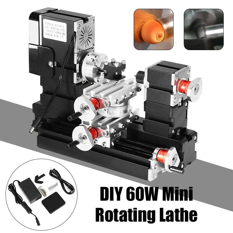 12000rpm 60W Mini Metal Rotating Lathe DIY Woodwork Wood Lathe Model Making Tool Milling Machine Kit
